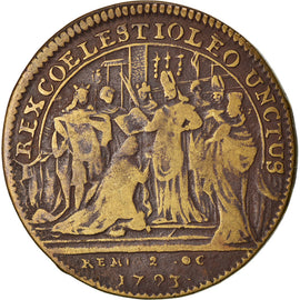 France, Token, Sacre de Louis XV à Reims, 1723, VF(30-35), Brass