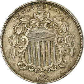 Coin, United States, Shield Nickel, 5 Cents, 1867, U.S. Mint, Philadelphia