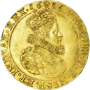 Coin, Spanish Netherlands, BRABANT, 2 Souverain D'or, 1636, Brussels, MS(60-62)