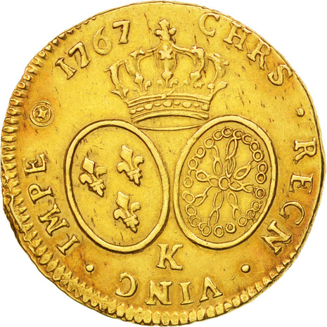France, Louis XV, Double louis d'or, 1767, Bordeaux, (AU(50-53), KM:519.9