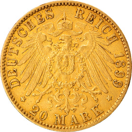 Coin, German States, HAMBURG, 20 Mark, 1899, Hamburg, MS(63), Gold, KM:618