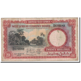 Banknote, BRITISH WEST AFRICA, 20 Shillings, 1953, 1953-03-31, KM:10a, VF(30-35)