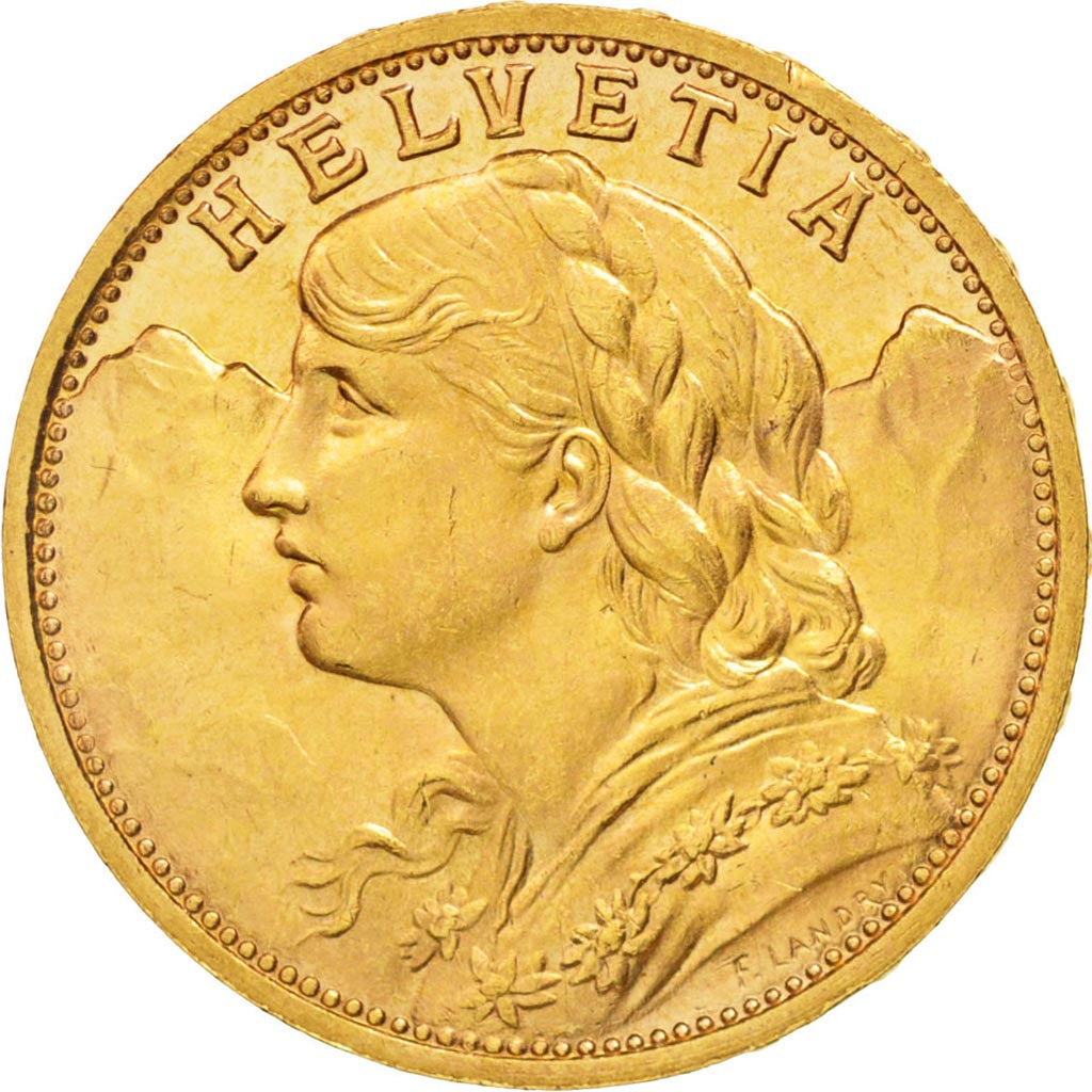 Switzerland, 20 Francs, 1935, Bern, MS(63), Gold, KM:35.1