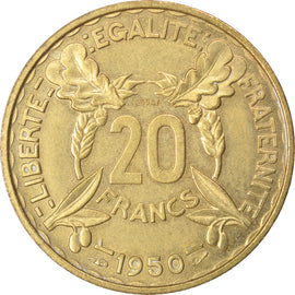 Coin, France, 20 Francs, 1950, MS(60-62), Cupro-Aluminium, KM:Pn114