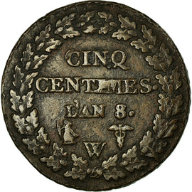 Coin, France, 5 Centimes, 1799, Lille, EF(40-45), Bronze, KM:640.11
