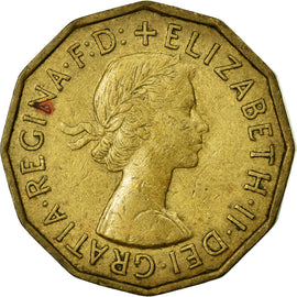Coin, Great Britain, Elizabeth II, 3 Pence, 1954, EF(40-45), Nickel-brass