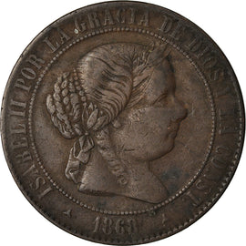 Coin, Spain, Isabel II, 5 Centimos, 1868, VF(30-35), Copper, KM:635.2