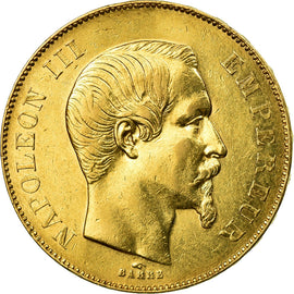Coin, France, Napoleon III, 50 Francs, 1855, Paris, AU(50-53), Gold