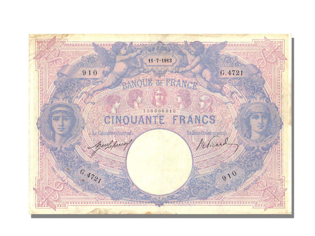 France, 50 Francs, 50 F 1889-1927 ''Bleu et Rose'', 1913, KM #64e, 1913-07-11,..