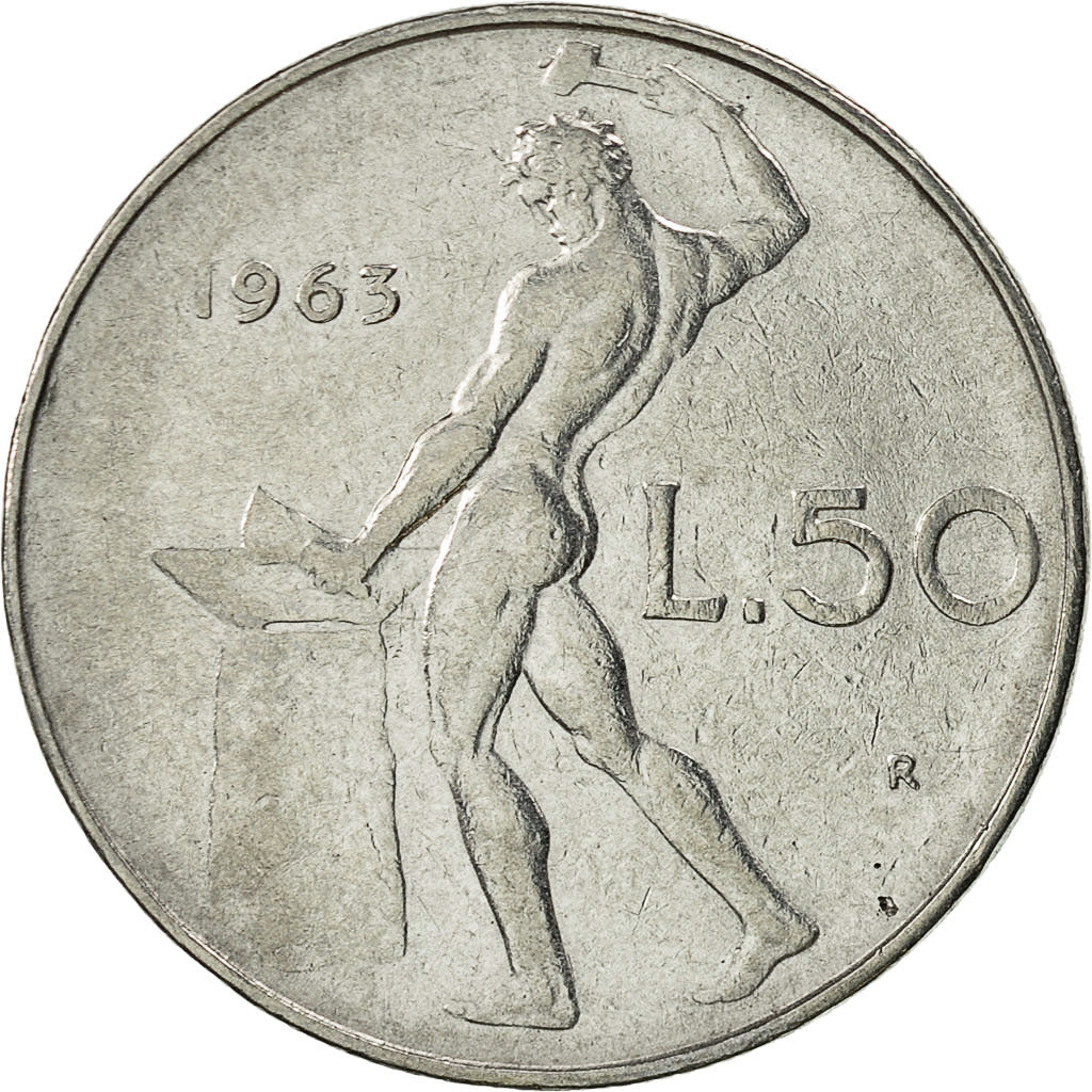 Italy 1967-50 Lire Stainless Steel Coin Vulcan standing at anvil