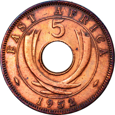 Coin, EAST AFRICA, George VI, 5 Cents, 1952, EF(40-45), Bronze, KM:33