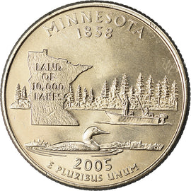 Coin, United States, Minnesota, Quarter, 2005, U.S. Mint, Denver, golden
