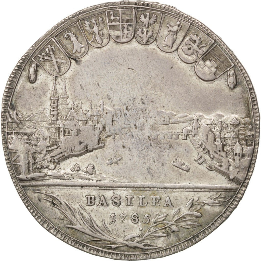 Coin, SWISS CANTONS, BASEL, Thaler, 1785, VF(20-25), Silver, KM:179