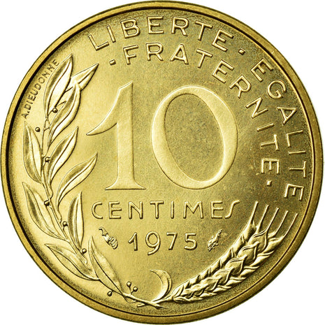 Coin, France, Marianne, 10 Centimes, 1975, MS(65-70), Aluminum-Bronze