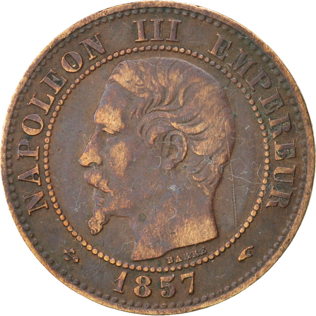 FRANCE, Napoléon III, 2 Centimes, 1857, Paris, KM #776.1, VF(30-35), Bronze, G..