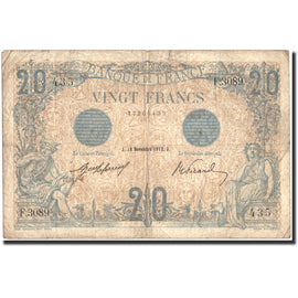 France, 20 F 1905-1913 ''Bleu'', 1912, KM:70, 1912-11-18, VF(20-25)