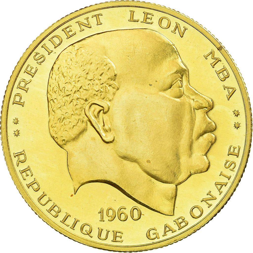 Coin, Gabon, Léon Mba, 50 Francs, 1960, Paris, Proof, MS(63), Gold, KM:3