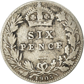 Coin, Great Britain, Edward VII, 6 Pence, 1905, VF(20-25), Silver, KM:799