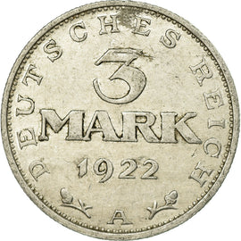 Coin, GERMANY, WEIMAR REPUBLIC, 3 Mark, 1922, Berlin, EF(40-45), Aluminum, KM:28