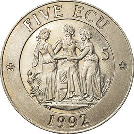 United Kingdom , Medal, 5 Ecu, Europa, 1992, MS(63), Copper-nickel