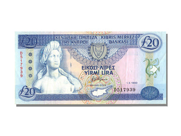 Banknote, Cyprus, 20 Pounds, 1993, UNC(65-70)