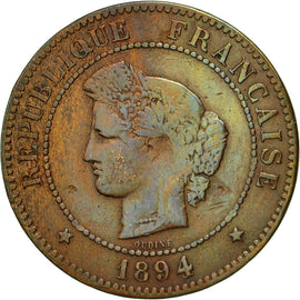 Coin, France, Cérès, 5 Centimes, 1894, Paris, EF(40-45), Bronze, KM:821.1