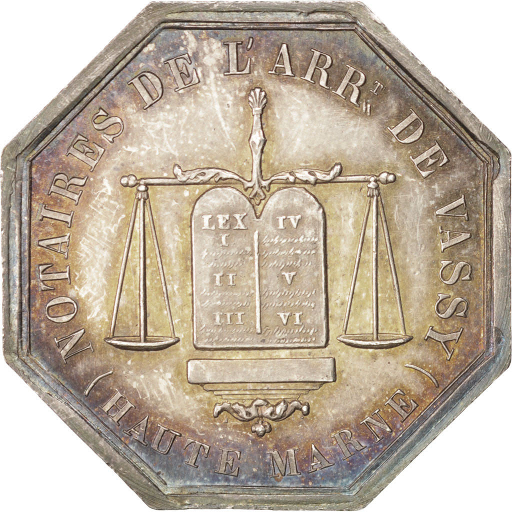 France, Notary, Token, 1851, MS(60-62), Silver, 31, Lerouge #415, 12.20