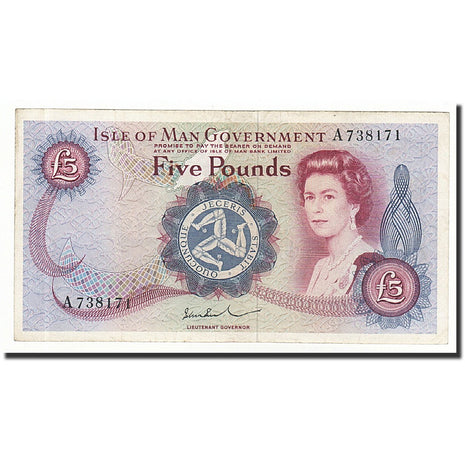 Isle of Man, 5 Pounds, Undated (1972), KM:30b, AU(55-58)