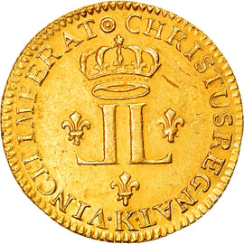 Coin, France, Louis XV, Louis d'or aux 2 L, Louis d'Or, 1721, Bordeaux