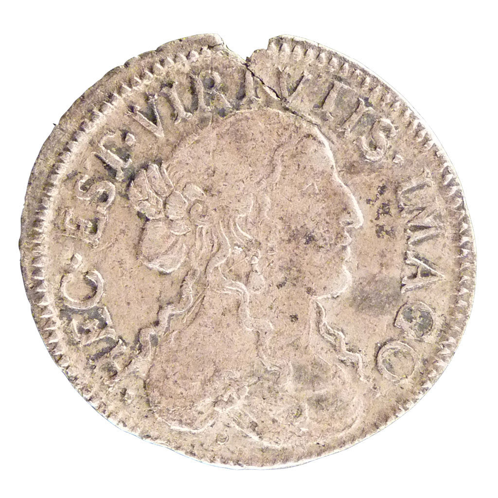 FRANCE, 1/12 Ecu, 1666, EF(40-45), Copper, Boudeau #1099, 1.90