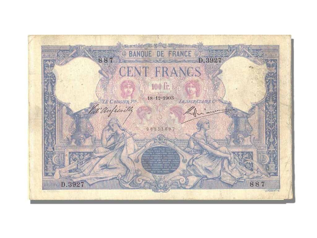 France, 100 Francs, 100 F 1888-1909 ''Bleu et Rose'', 1903, KM #65c,...