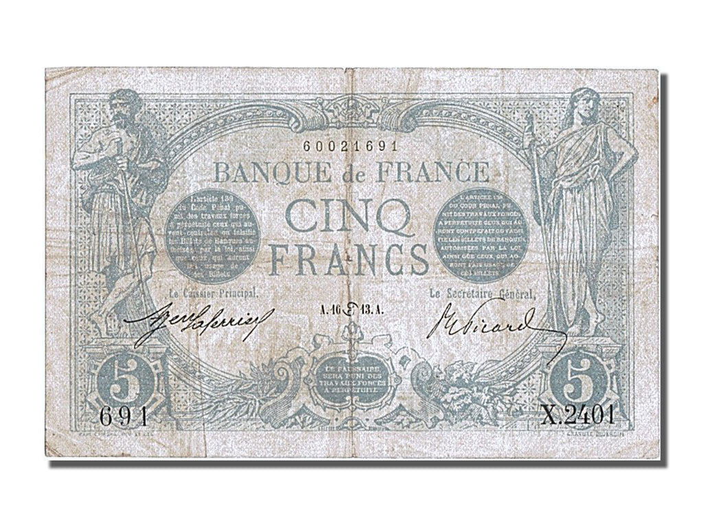 France, 5 Francs, 5 F 1912-1917 ''Bleu'', 1913, KM #70, 1913-06-16, EF(40-45),..