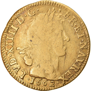 Coin, France, Louis XIV, Louis d'or au buste juvénile, tête laurée, Louis