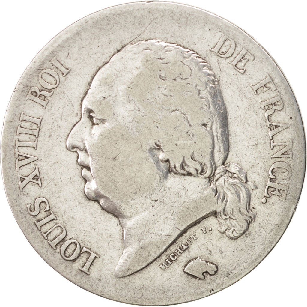Coin, France, Louis XVIII, Louis XVIII, 5 Francs, 1822, Lille, VF(30-35)