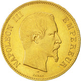France, Napoleon III, 100 Francs, 1855, Paris, AU(50-53), Gold, KM 786.1