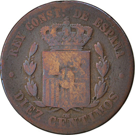 Coin, Spain, Alfonso XII, 10 Centimos, 1879, VG(8-10), Bronze, KM:675
