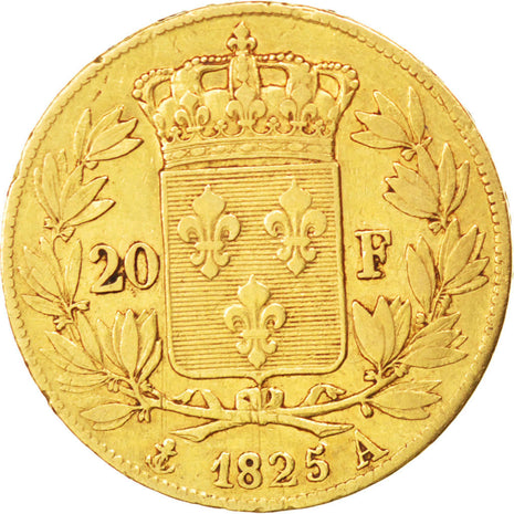 FRANCE, Charles X, 20 Francs, 1825, Paris, KM #726.1, VF(30-35), Gold, Gadoury..