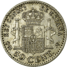 Coin, Spain, Alfonso XIII, 50 Centimos, 1904, Madrid, EF(40-45), Silver, KM:723
