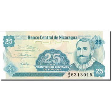 Banknote, Nicaragua, 25 Centavos, Undated (1990), KM:170a, UNC(65-70)