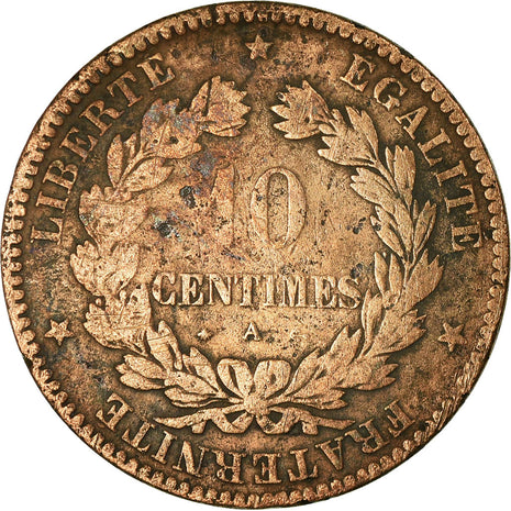 Coin, France, Cérès, 10 Centimes, 1870, Paris, Petit A, VF(20-25), Bronze