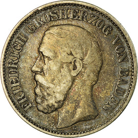 Coin, German States, BADEN, Friedrich I, 2 Mark, 1876, Stuttgart, VF(30-35)
