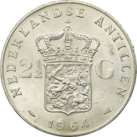 Coin, Netherlands Antilles, Juliana, 2-1/2 Gulden, 1964, AU(55-58), Silver, KM:7