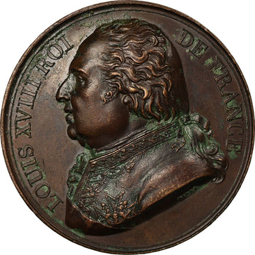 France, Medal, Louis XVIII, Politics, Society, War, 1818, Barre, AU(50-53)