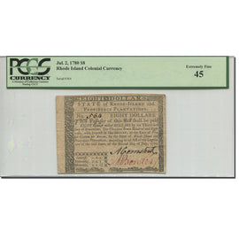 Banknote, United States, 8 Dollars, 1780, 1780-07-02, graded, PCGS, 80104992