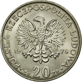 Coin, Poland, 20 Zlotych, 1976, AU(55-58), Copper-nickel, KM:69