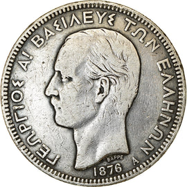 Coin, Greece, George I, 5 Drachmai, 1876, Paris, VF(30-35), Silver, KM:46