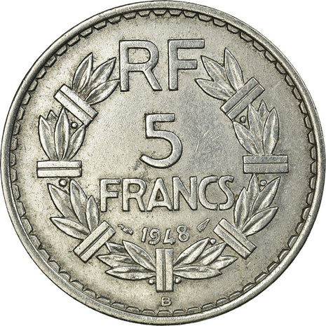 Coin, France, Lavrillier, 5 Francs, 1948, Beaumont le Roger, AU(50-53)