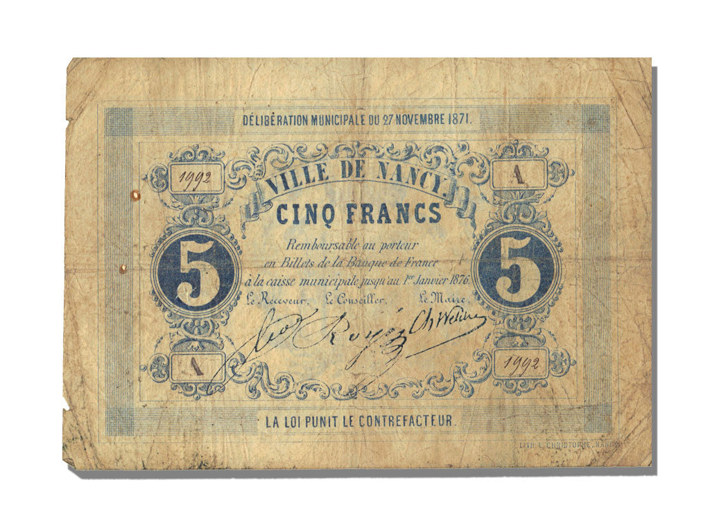FRANCE, Nancy, 5 Francs, 1871, 1871-11-27, EF(40-45), Jérémie #54.04.A