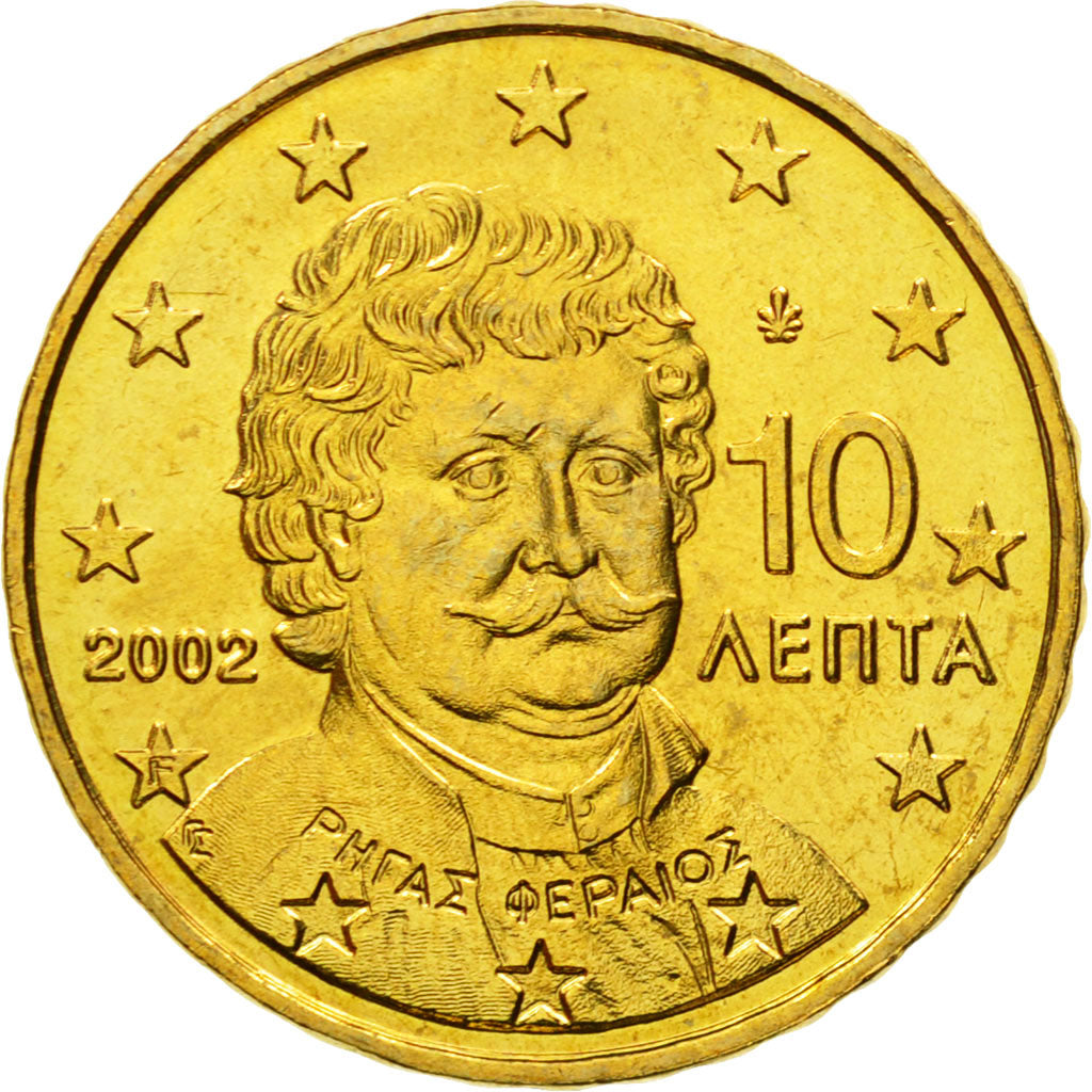 Greece, 10 Euro Cent, 2002, MS(65-70), Brass, KM:184