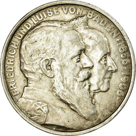 Coin, German States, BADEN, Friedrich I, 5 Mark, 1906, Karlsruhe, AU(50-53)